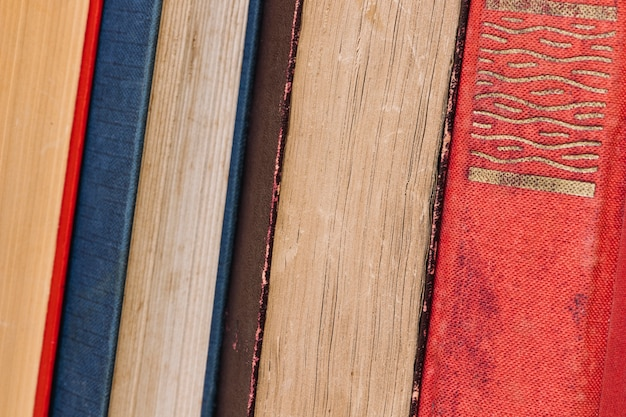 Row of various old books Free Photo