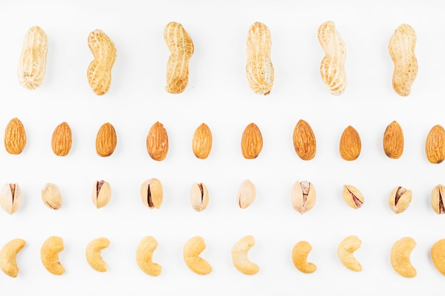 Row of walnuts; peanuts; almonds; pistachios and cashew nuts on white background Free Photo