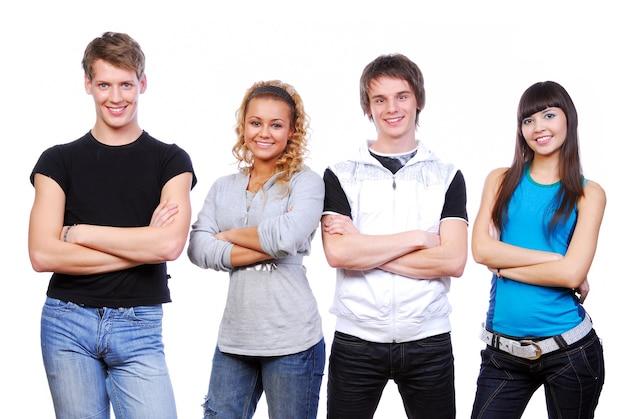 Fila di giovani felici. isolato su bianco Foto Gratuite