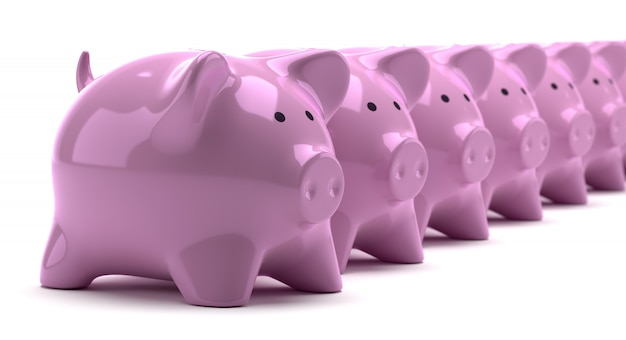 Rows of pink piggy banks Premium Photo