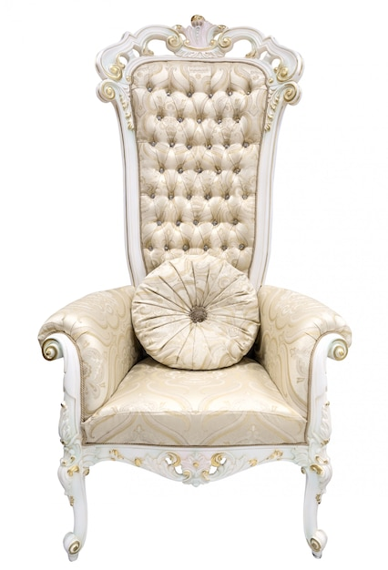 Royal king throne. ivory armchair in baroque style decorated with semiprecious stones. Premium Photo