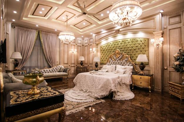 Premium Photo Royal Luxury Bedroom White With Bed
