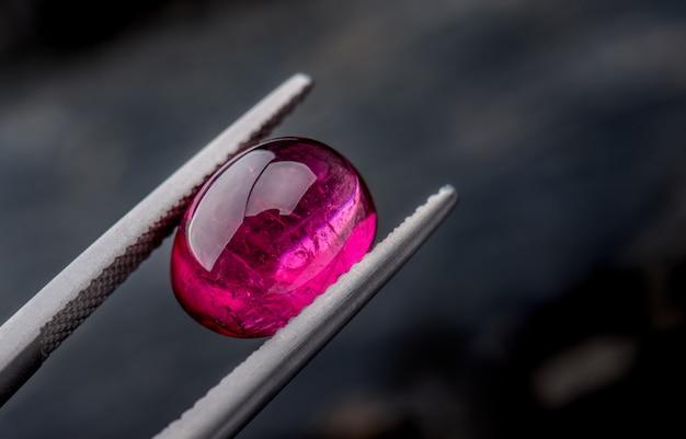 Rubellite rubellus gemstone jewelry. Premium Photo