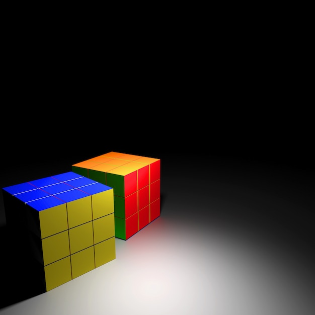 Rubik cube, 3d rendering Premium Photo
