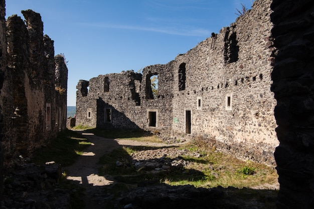 Ruins of castle nevytske in transcarpathian region. uzhgorod photo. nevitsky castle built in 13th century. ukraine. Premium Photo