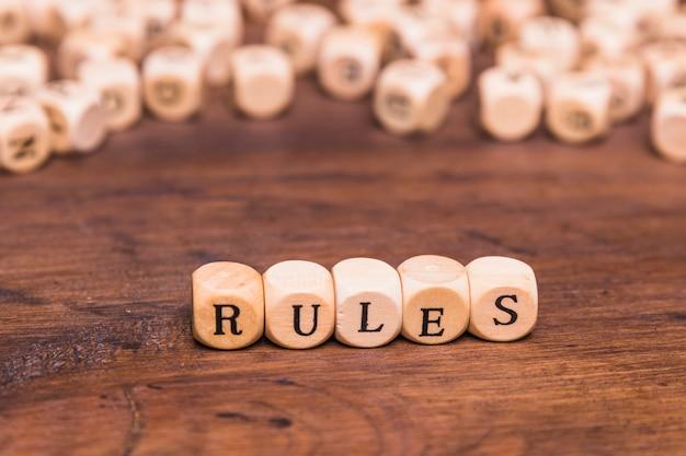 Rule word written on wooden cubes Free Photo