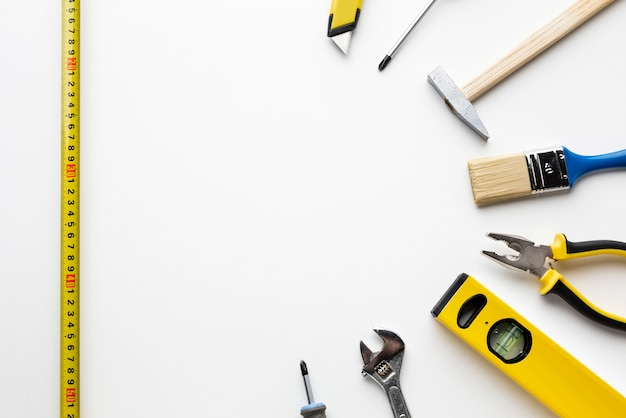 Ruler and construction tools with copy space Free Photo