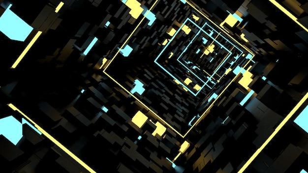 Обои для рабочего стола run in box light tunnel в стиле ретро и научной фантастики. Premium Фотографии
