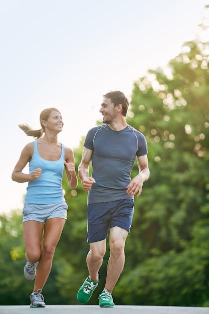 Runners training outdoors Free Photo