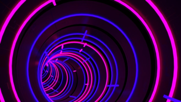 Running In Neon Light Circle Tunnel Wallpaper In Retro And