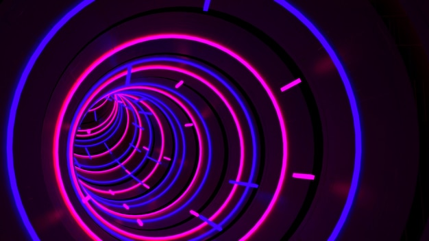 Running in neon light circle tunnel wallpaper in retro and fashion party scene. Premium Photo