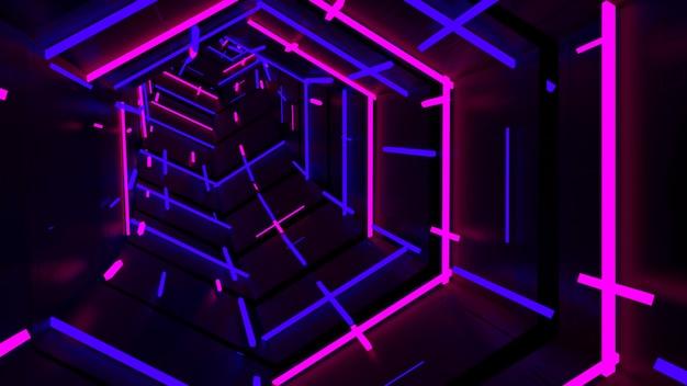 Running in neon light hexagon tunnel Premium Photo