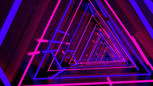 Running in neon light triangle tunnel wallpaper in retro and fashion party scene. Premium Photo