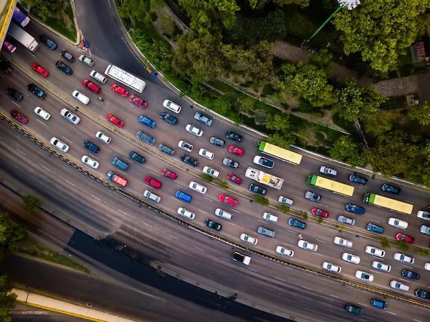 Rush hour traffic jam drone shot, aerial Premium Photo