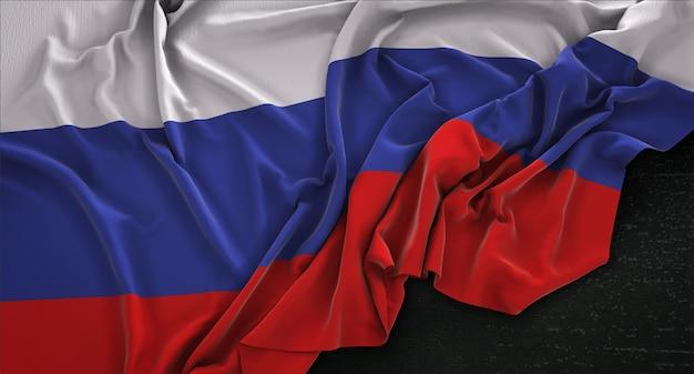 Флаг россии с морщинами на темном фоне 3d render Бесплатные Фотографии
