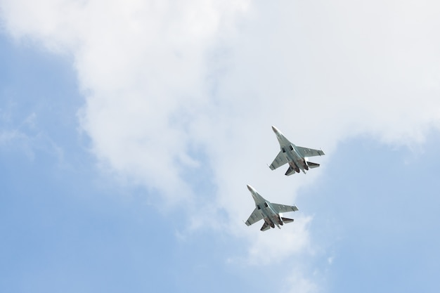 Russian fighters in the sky on the feast. Premium Photo
