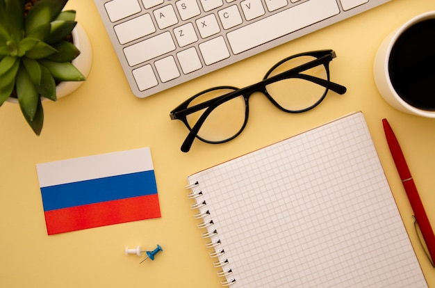 Russian flag and studying objects Free Photo