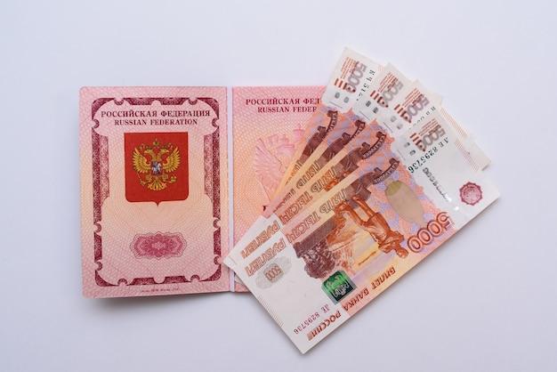 Russian international passport with rubles Premium Photo
