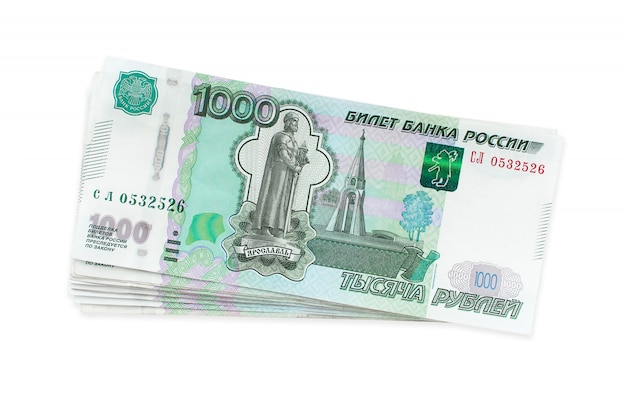 Russian money rubles, one thousand isolated Premium Photo