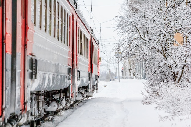 Russian train in the winter. the train on the platform. Premium Photo
