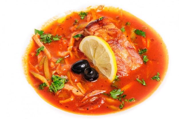 Russian and ukrainian soup solyanka Premium Photo