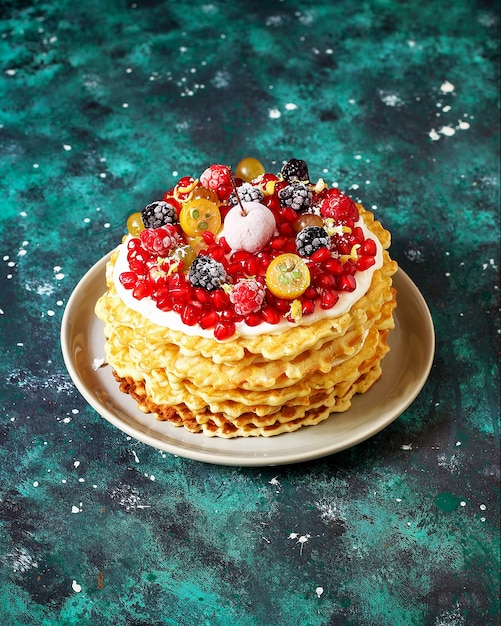 Russian waffle cake with sour cream and berries Free Photo