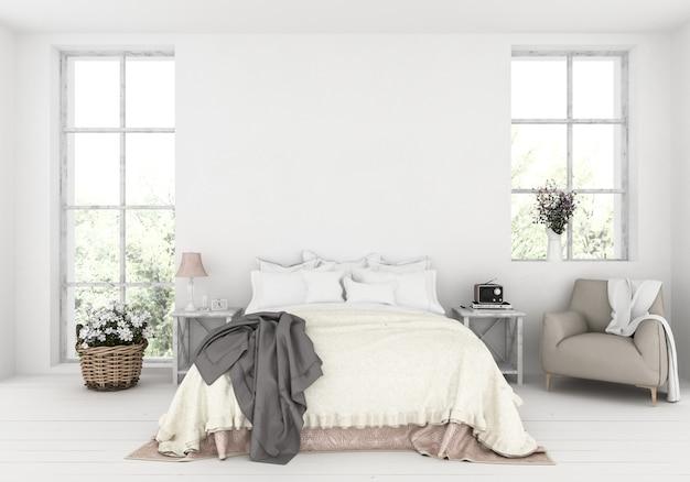 Premium Photo Rustic Bedroom With Blank Wall Artwork Display