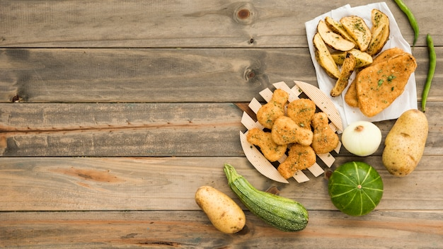Rustic food on wooden table Free Photo