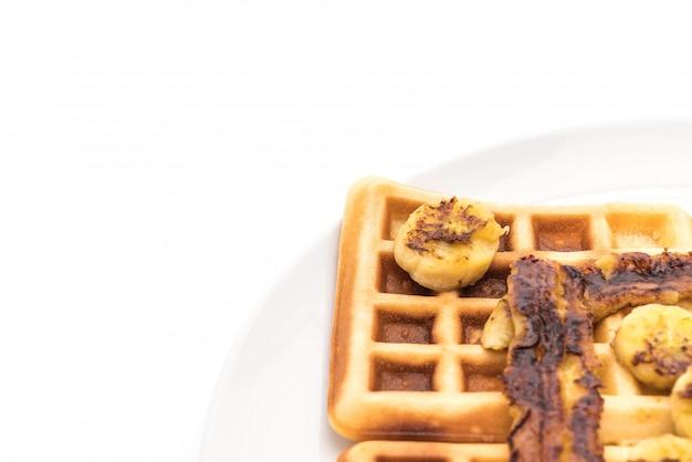 Rustic sweet banana waffle Premium Photo