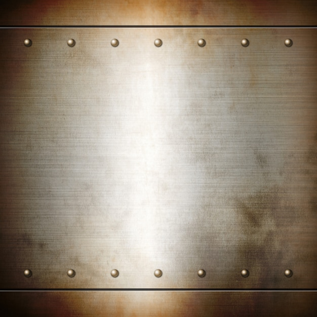 Rusty steel riveted brushed plate texture Premium Photo