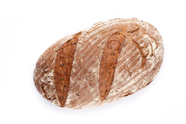 Rye eco breads on the white surface. Premium Photo
