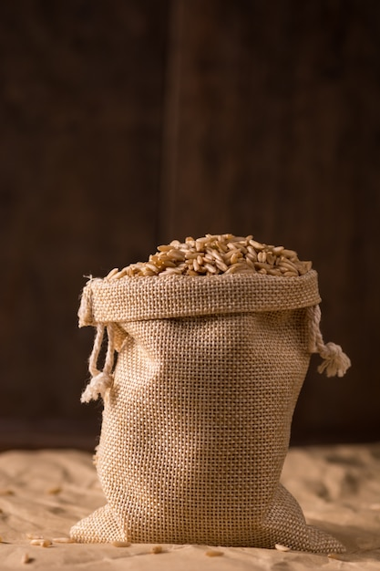 Sack full cereals Free Photo