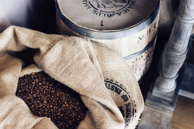Sack full of coffee beans Free Photo