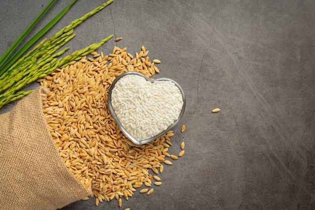 A sack of rice seed with white rice on small glass bowl and rice plant Free Photo