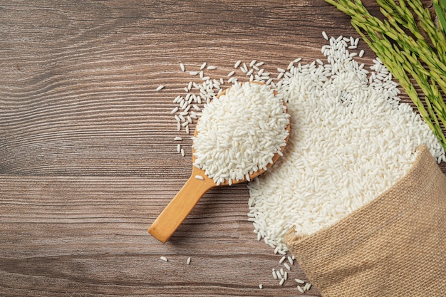 Sack of rice with rice on wooden spoon and rice plant Free Photo