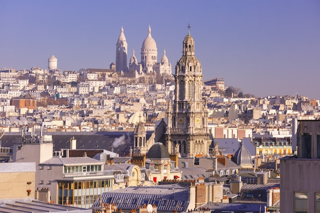 Базилика сакре-кер утром, париж, франция Premium Фотографии