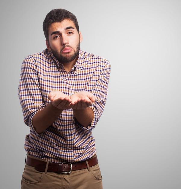 Sad arabic man begging for money Free Photo