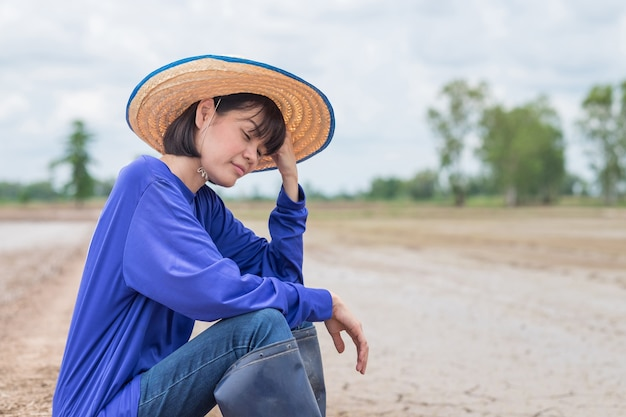 Sad asian farmer sitting and worry at a rice farm Premium Photo