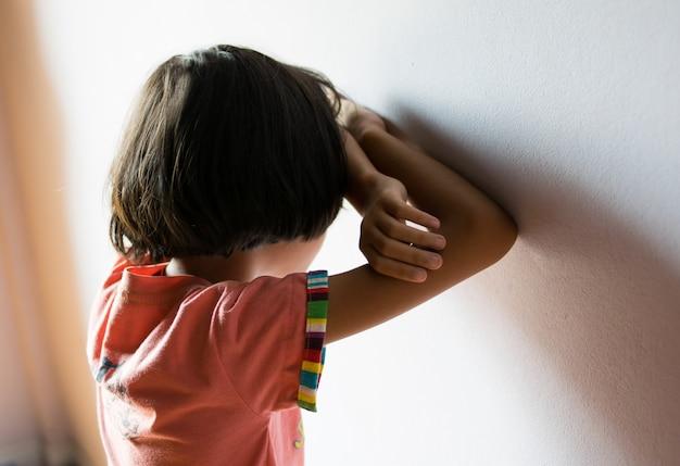 Sad children,girl standing at room Premium Photo