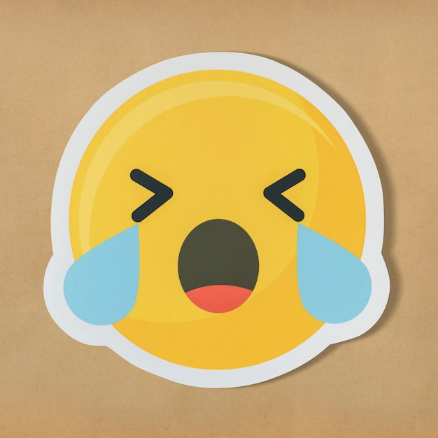 Sad crying face emoticon symbol Free Photo