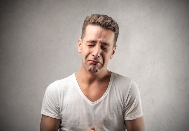 Sad crying man Premium Photo