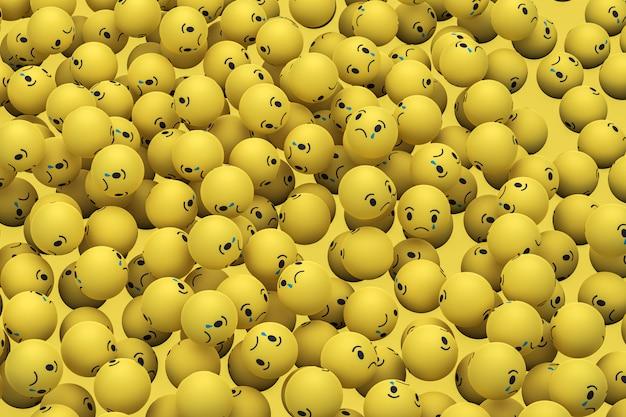 Грустно facebook социальных медиа emoji 3d визуализации фона, символ социальных медиа шар Premium Фотографии