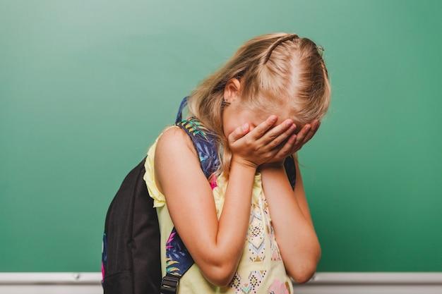 Sad girl hiding face Free Photo