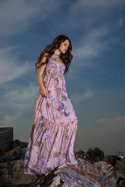 Sad Girl In The Rocks Photo  Free Download-3334