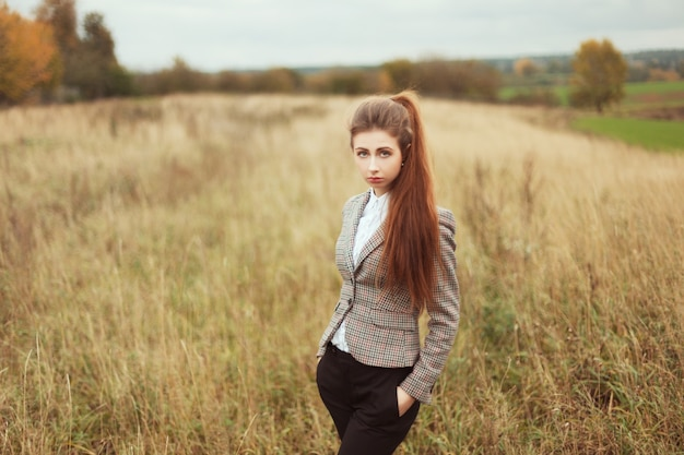 Sad Girl With A Ponytail Outdoors Photo Free Download