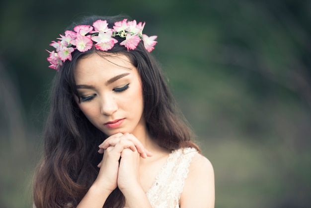 Sad still mood of asian women portrait closeup face with space for text Premium Photo