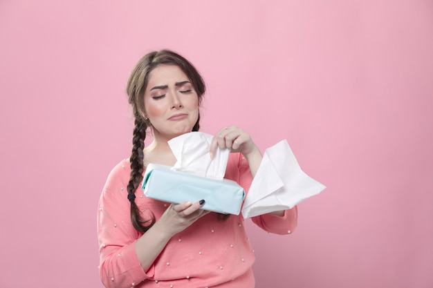 Sad woman crying and using napkins Premium Photo