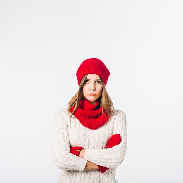 Sad woman in warm clothes Free Photo
