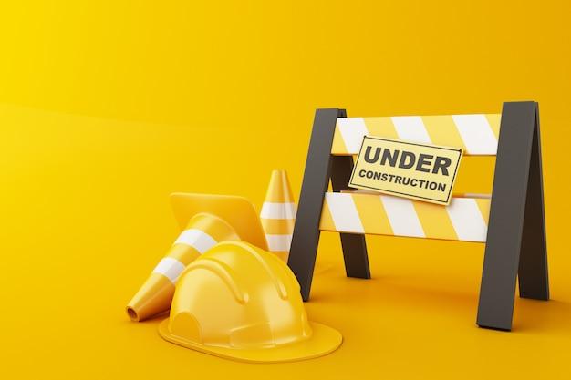Safety helmet and traffic cone on orange background. under construction concept. 3d illustration. Premium Photo