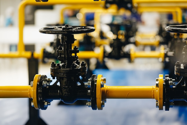 Safety valves at gas plant Premium Photo